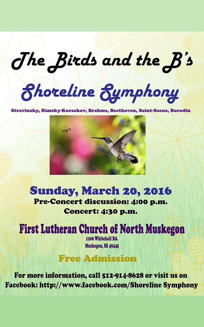 Mar 20 – The Birds and The B's Concert by the Shoreline Symphony Community Orchestra