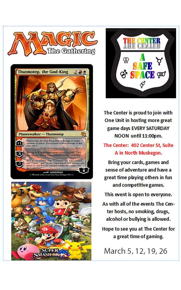Mar 5, 12, 19, 26 – Youth Gaming Day at The Center