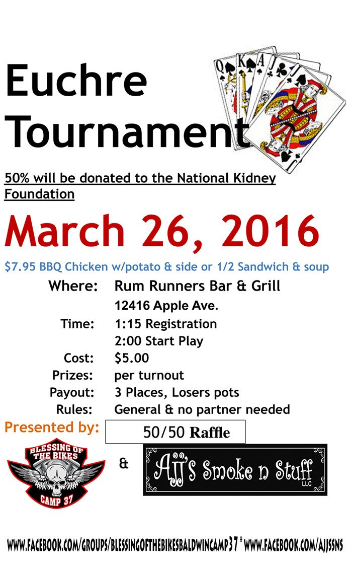 Mar 26 – Euchre Tournament