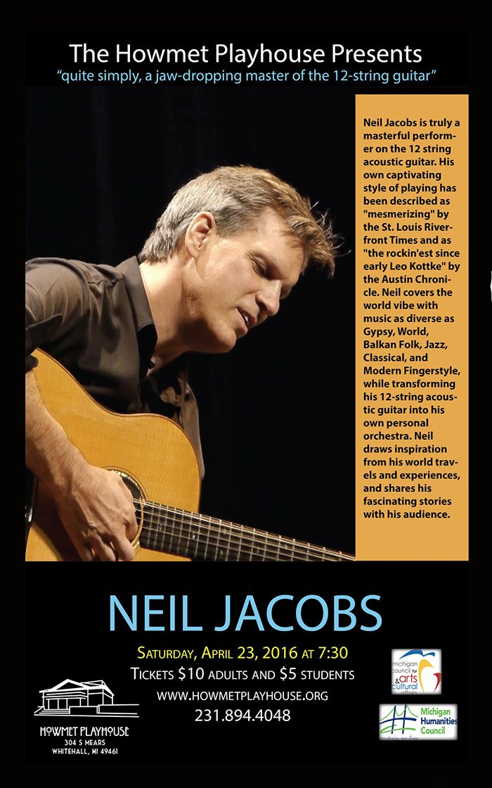 Apr 23 – Neil Jacobs in Concert at the Howmet Playhouse