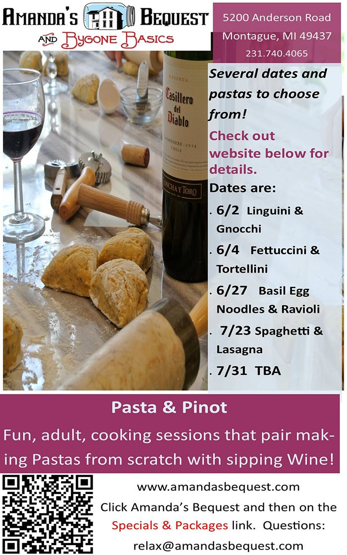 Pasta and Pinot – Cooking Sessions – Amanda's Bequest B & B