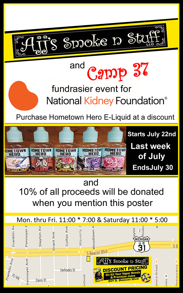 Jul 22-30 – Ajj's & Camp 37 Fundraiser for the National Kidney Foundation