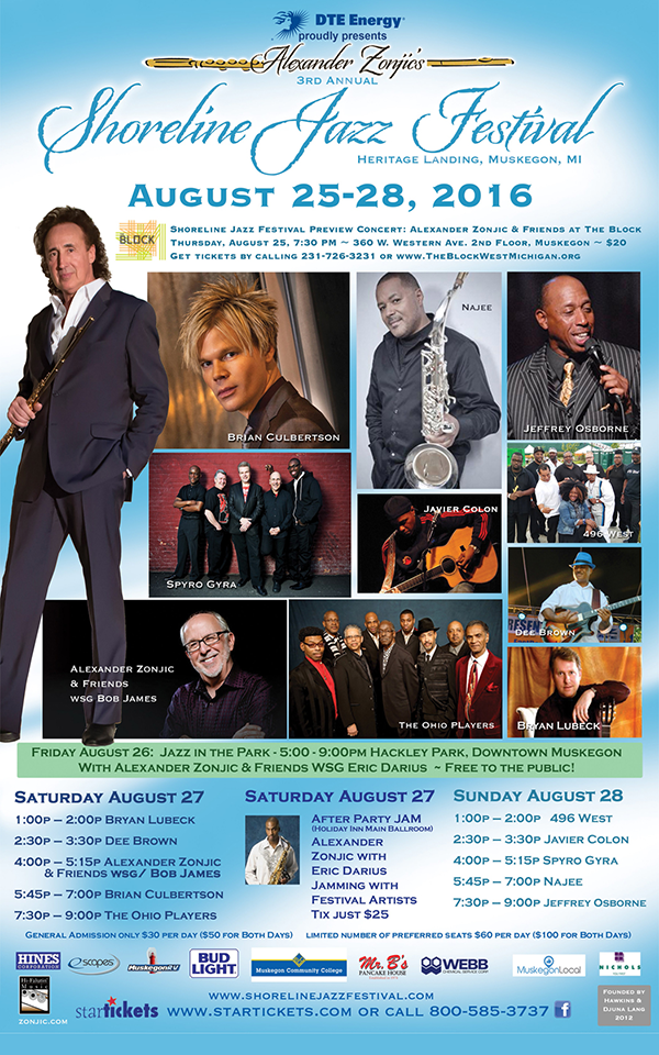 Aug 25-28 – Shoreline Jazz Festival – Muskegon