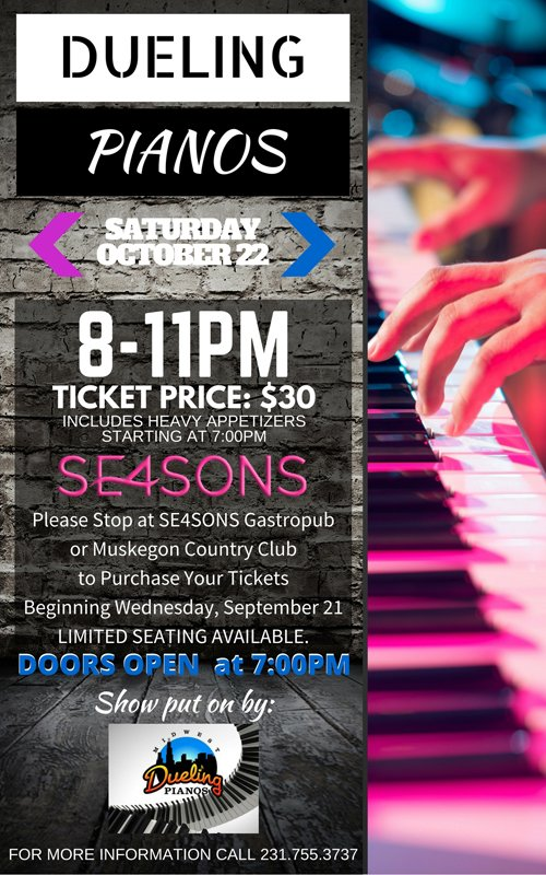 Oct 22 – Dueling Pianos at SE4SONS Gastropub