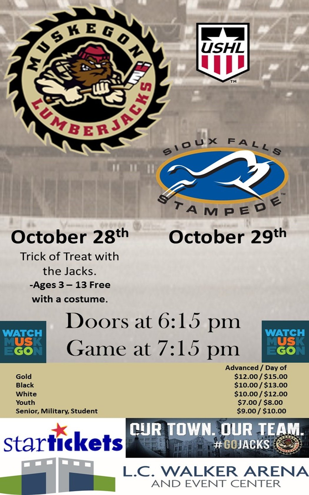 Oct 28, 29 – Muskegon Lumberjacks vs Sioux Falls Stampede