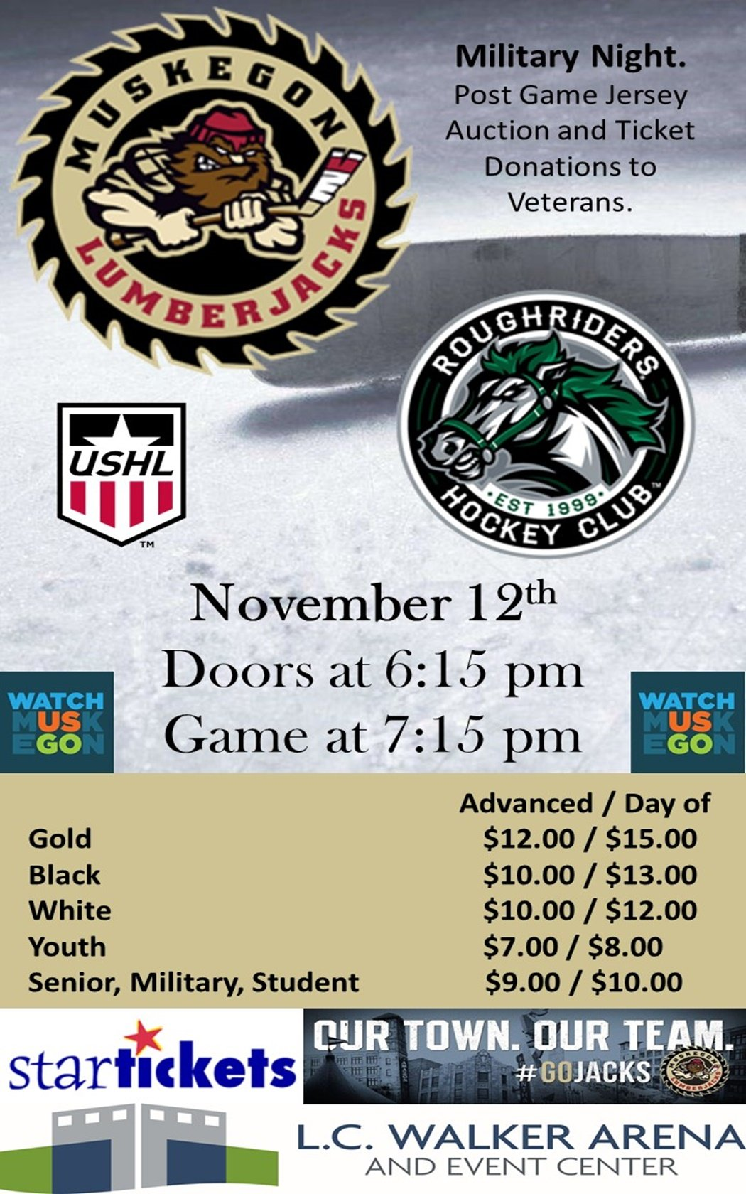 Nov 12 – Muskegon Lumberjacks vs Cedar Rapids RoughRiders