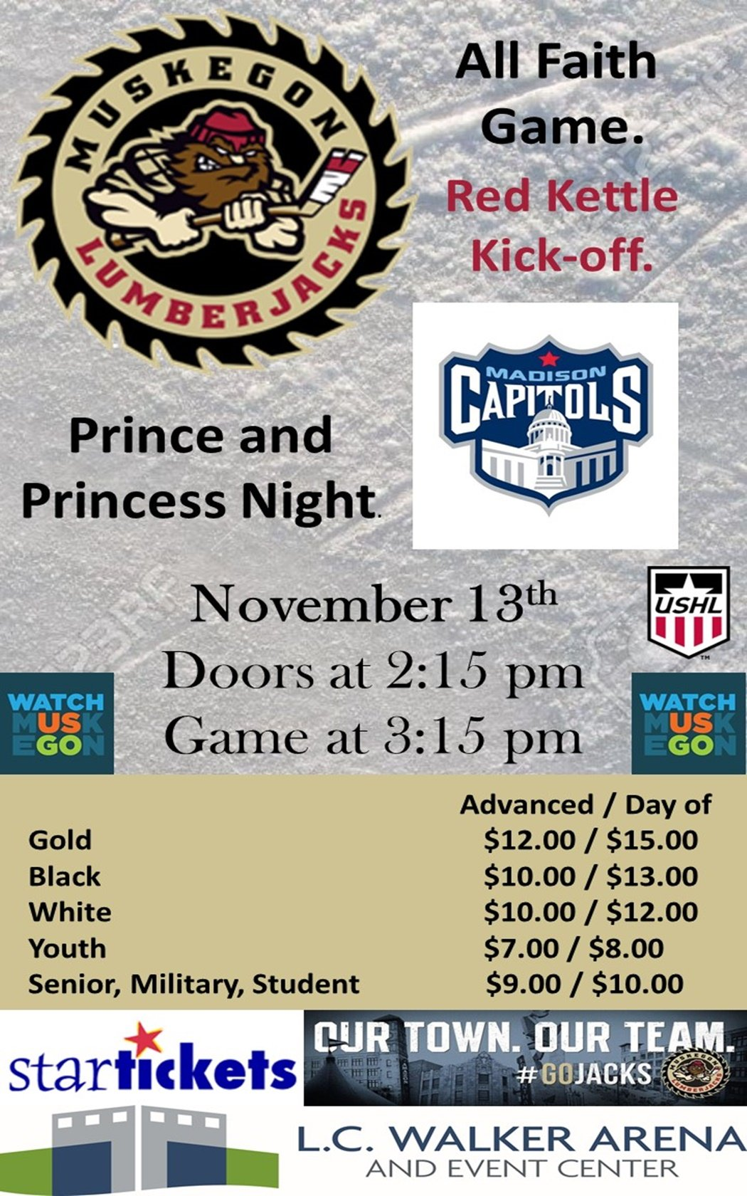 Nov 13 – Muskegon Lumberjacks vs Madison Capitals