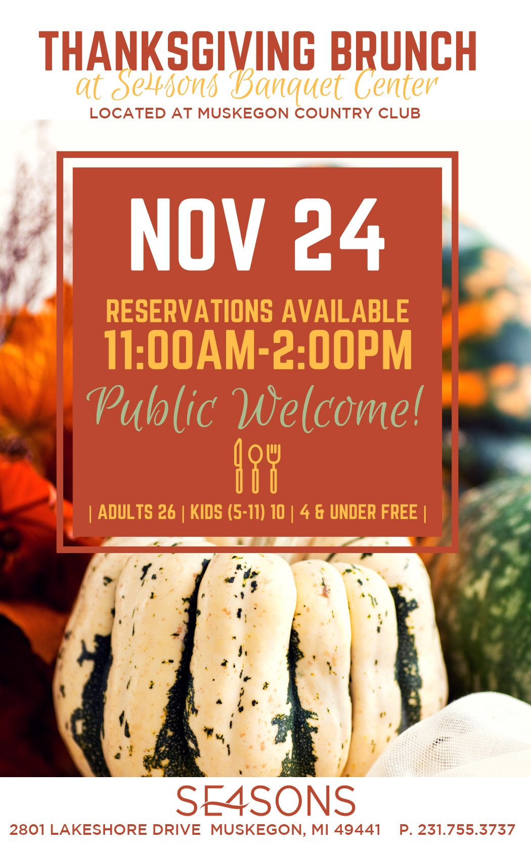 Nov 24 – Thanksgiving Brunch at SE4SONS