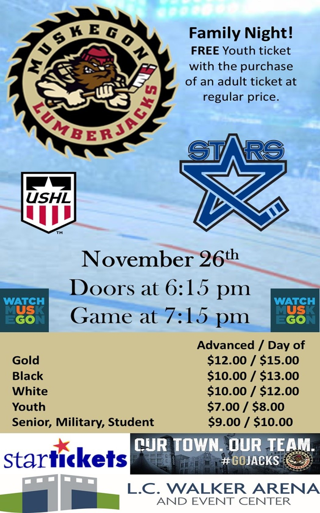 Nov 26 – Muskegon Lumberjacks vs Lincoln Stars
