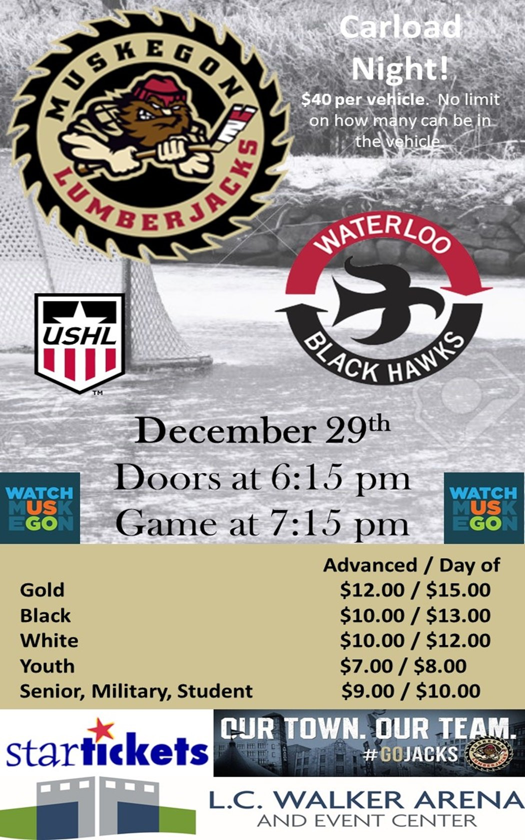 Dec 29 – Muskegon Lumberjacks vs Waterloo Black Hawks