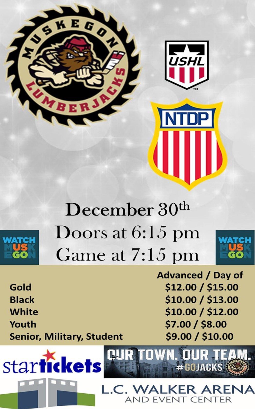 Dec 30 – Muskegon Lumberjacks vs NTDP