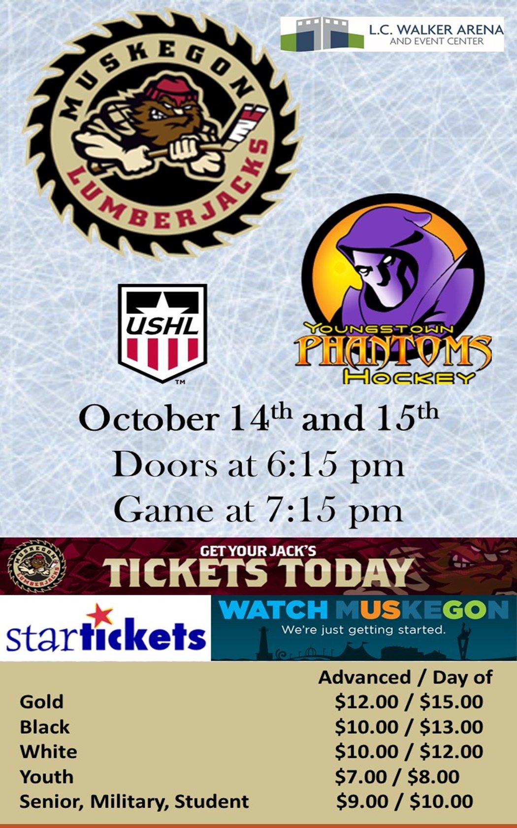 Oct 14,15 – Muskegon Lumberjacks vs Youngstown Phantoms