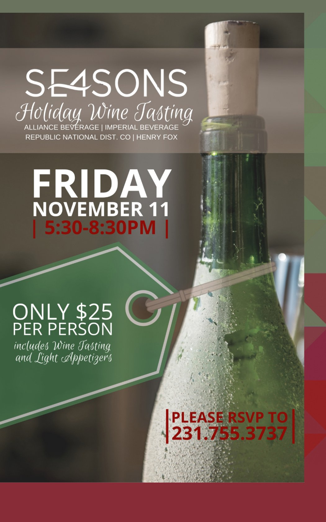 Nov 11 – Holiday Wine Tasting at SE4SONS
