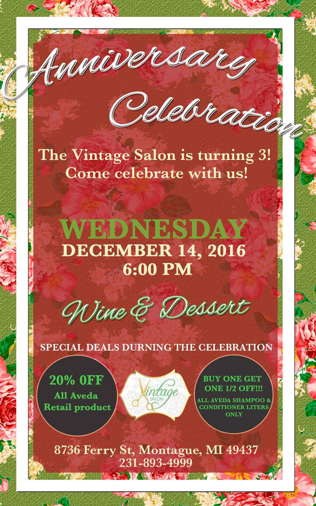 Dec 14 – The Vintage Salon Anniversary Celebration