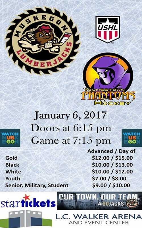 Jan 6 – Muskegon Lumberjacks vs Youngstown Phantoms
