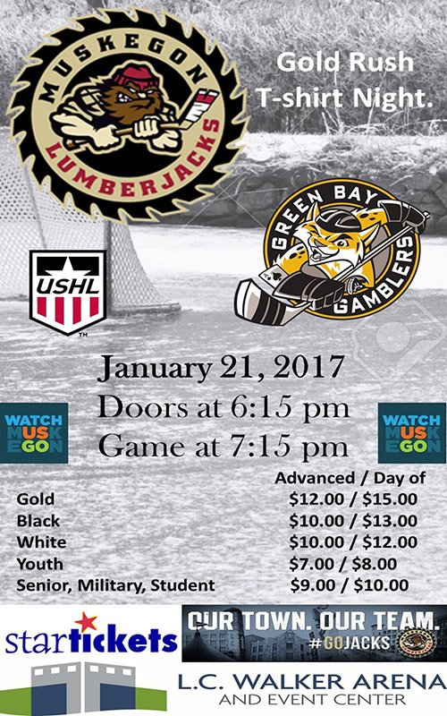 Jan 21 – Muskegon Lumberjacks vs Green Bay Gamblers