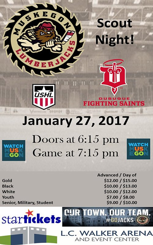 Jan 27 – Muskegon Lumberjacks vs Dubuque Fighting Saints