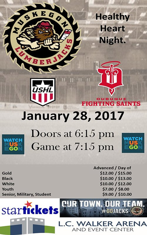 Jan 28 – Muskegon Lumberjacks vs Dubuque Fighting Saints