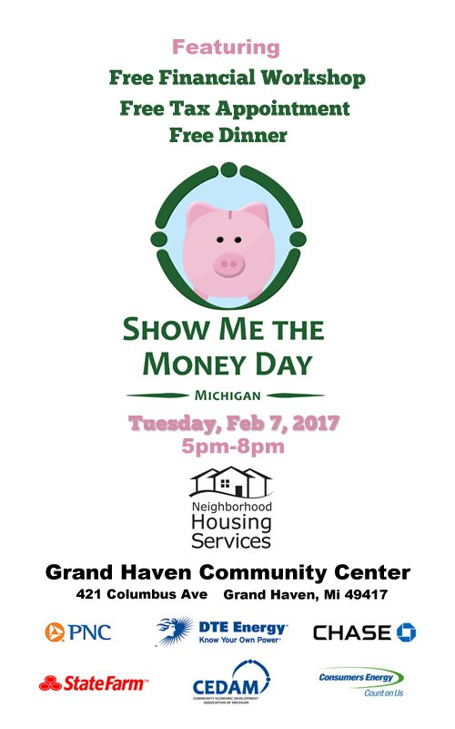 Feb 7 – Show Me the Money Day – Grand Haven