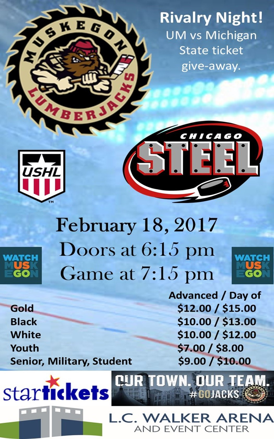 Feb 18 – Muskegon Lumberjacks vs Chicago Steel