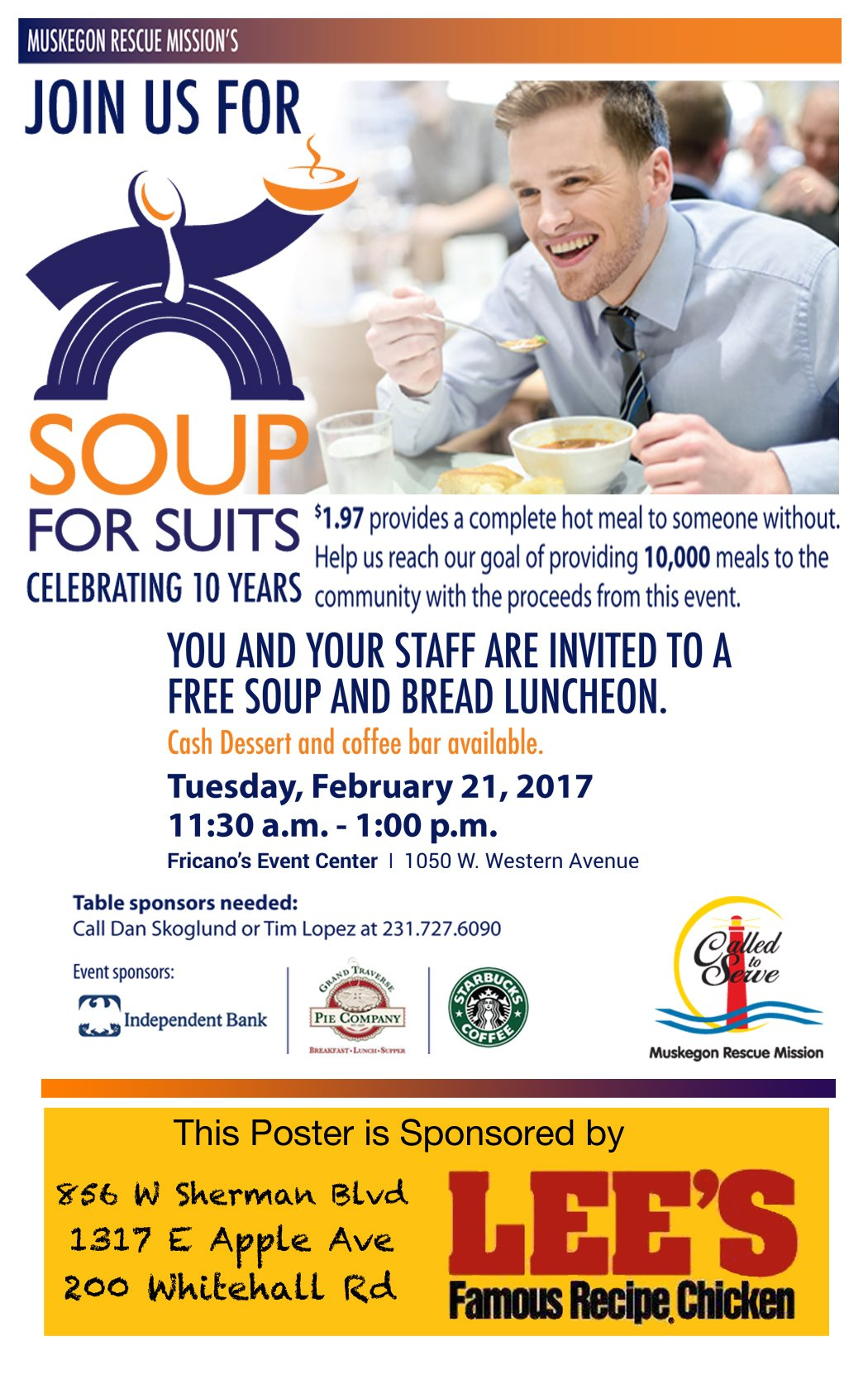 Feb 21 – Soup for Suits – Free Luncheon