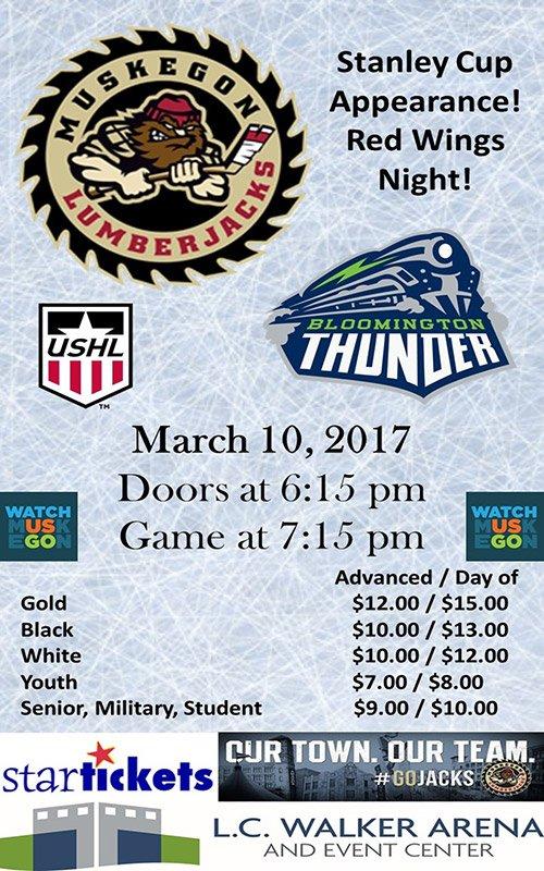 Mar 10 – Muskegon Lumberjacks vs Bloomington Thunder