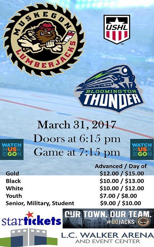 Mar 31 – Muskegon Lumberjacks vs Bloomington Thunder