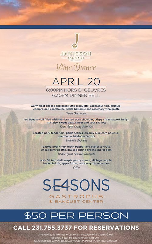Apr 20 – SE4SONS – Jamieson Valley Ranch Wine Dinner