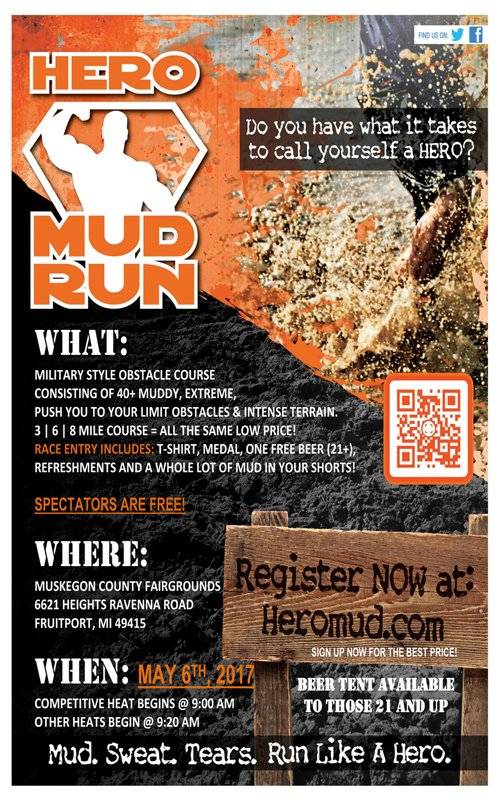 May 6 – Hero Mud Run – Muskegon County Fairgrounds