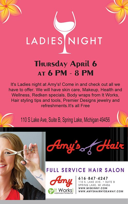 Apr 6 – Tonight – Ladies Night – Amy's Hair