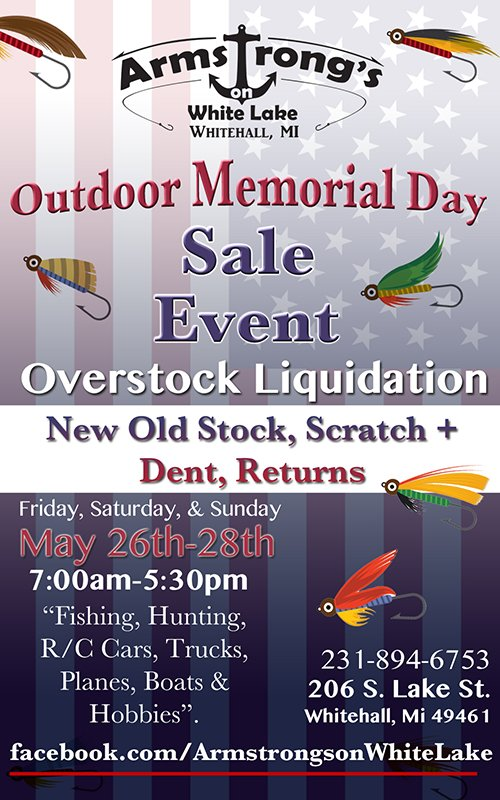 May 26-28 – Armstrong's Outdoor Memorial Weekend Sale