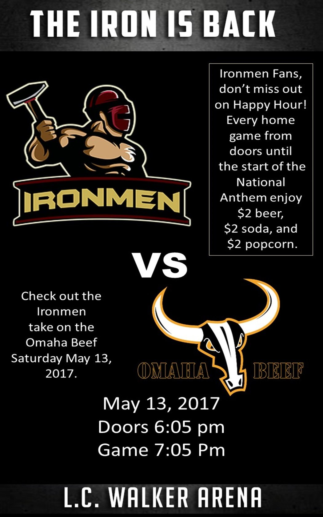 May 13 – Ironmen vs Omaha Beef – Indoor Football