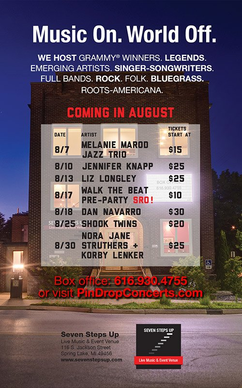 August Concert Schedule – Seven Steps Up