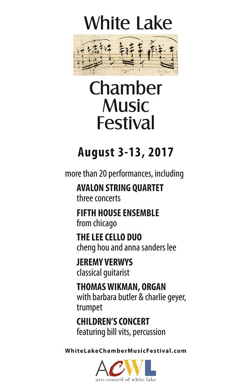 Aug 3-13 – White Lake Chamber Music Festival 2017