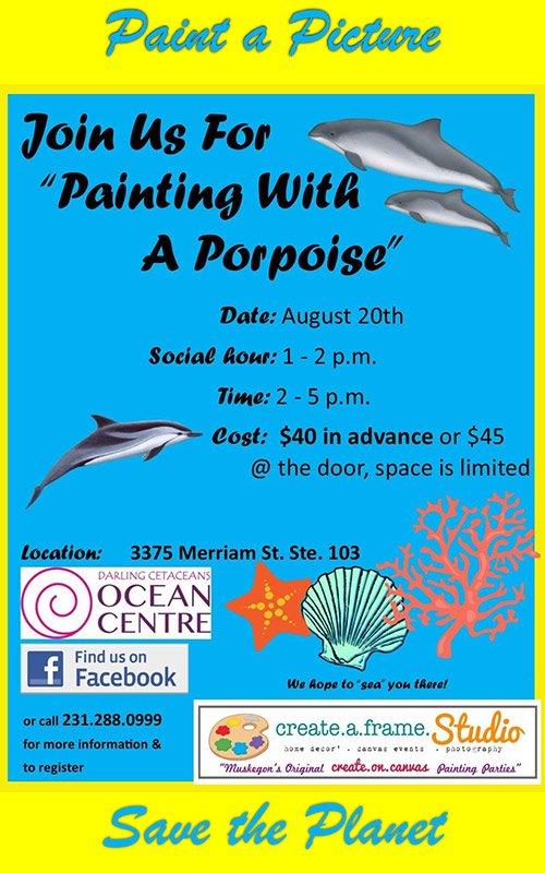 Aug 20 – Darling Cetaceans: Painting with a Porpoise