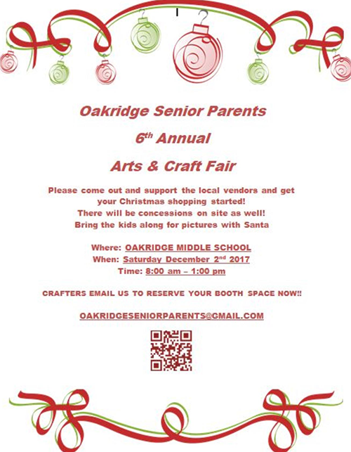Dec 2 – 6th Annual Oakridge Senior Parents Arts & Craft Fair