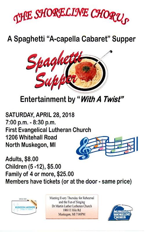 "Apr 28 – A Spaghetti ""A-Capella Cabaret"" Supper"
