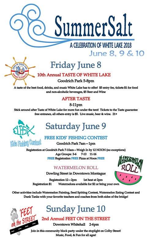 June 8, 9 &  10 – SummerSalt – A Celebration of White Lake 2018