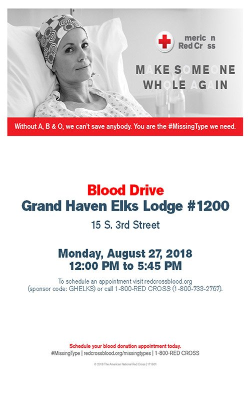 Aug 27 – Blood Drive – Grand Haven Elks Lodge