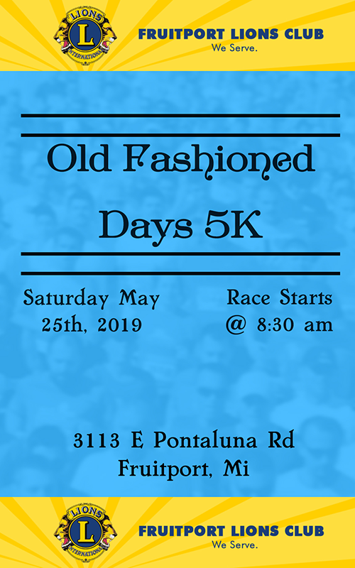 May 25 – Fruitport Old Fashioned Days 5K