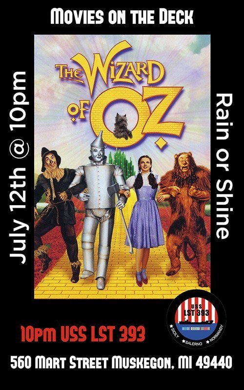 July 12 – Movies On Deck – The Wizard of Oz
